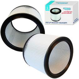 2x HQRP HEPA Cartridge Filters for Shop-Vac Series Vacuums /