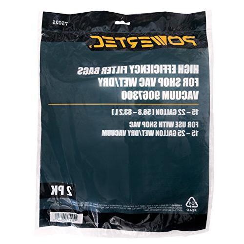 POWERTEC 75025 High Efficiency Filter Bags Vac 9067300 , gallon